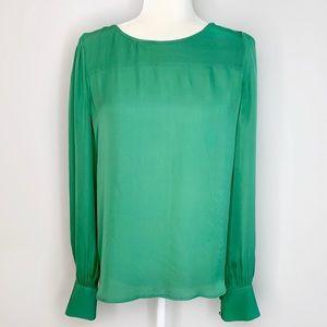 J Crew Green Silk Long Sleeve Button Keyhole Shirt